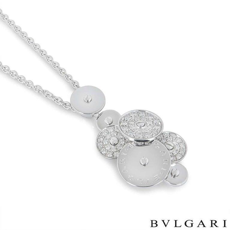 Bvlgari White Gold Diamond Cicladi Pendant In Excellent Condition For Sale In London, GB