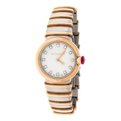 Bvlgari White Mother of Pearl 18K Rose Gold and Stainless Steel Wristwatch 28 mm