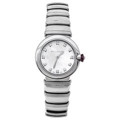 Bvlgari White Mother of Pearl Stainless Steel LVCEA LU28S Womens Wristwatch 28mm