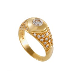 Bvlgari Women's 18 Karat Yellow Gold Diamond Pave Ring