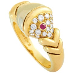 Bvlgari Yellow and White Gold Diamond and Ruby Ring