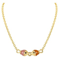 Bvlgari Yellow Gold Carnelian and Pink Jade Naturalia Fish Necklace