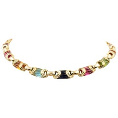 Bvlgari Yellow Gold Carved Multi-Gemstone Link Necklace
