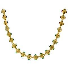 Bvlgari Gold Chain Necklace Bracelet Set with Gemstones Bulgari, 1980s