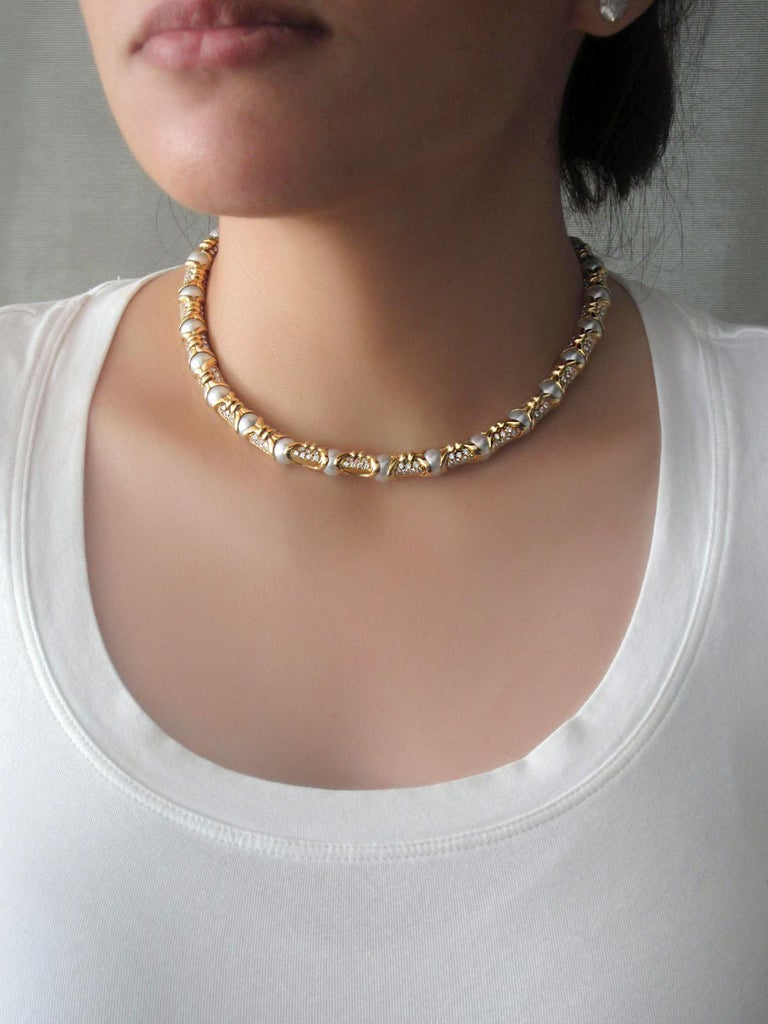 Round Cut Bvlgari, Yellow Gold Diamond and Cultured Pearl Necklace For Sale