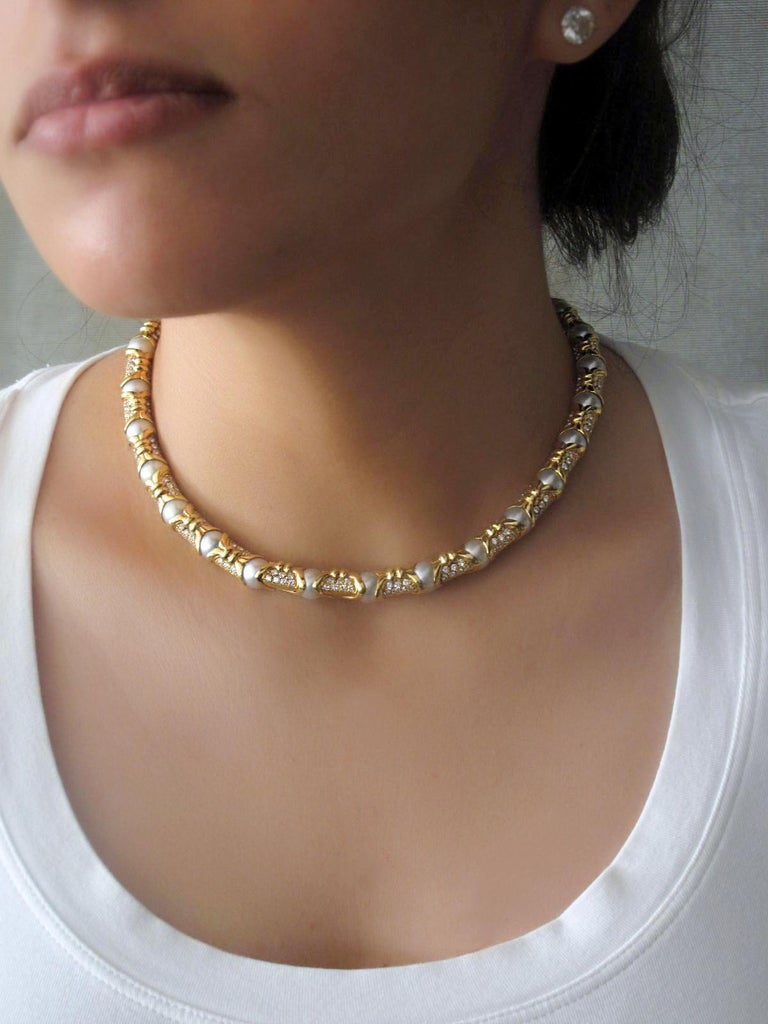 Bvlgari, Yellow Gold Diamond and Cultured Pearl Necklace In Good Condition For Sale In New York, NY