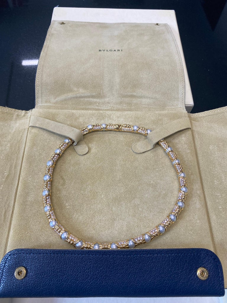 Women's Bvlgari, Yellow Gold Diamond and Cultured Pearl Necklace For Sale