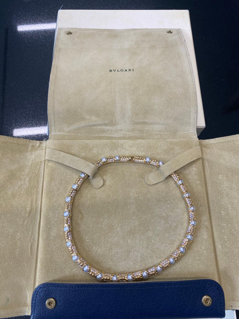Bvlgari, Yellow Gold Diamond and Cultured Pearl Necklace For Sale 1