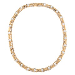Bvlgari, Yellow Gold Diamond and Cultured Pearl Necklace