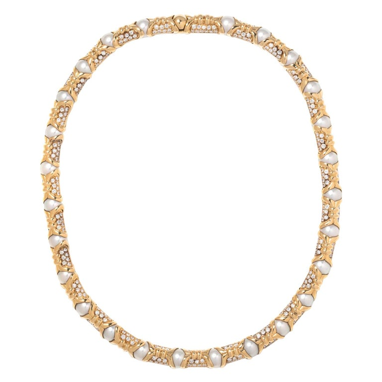 Bvlgari, Yellow Gold Diamond and Cultured Pearl Necklace For Sale