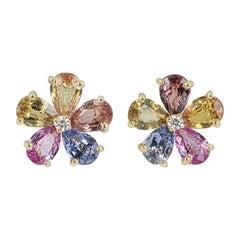 Bvlgari Yellow Gold Diamond and Sapphire Flower Earrings