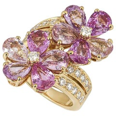 Bvlgari Yellow Gold Diamond Sapphire Flower Ring