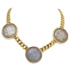 Bvlgari Yellow Gold Large Three Coin Chain Choker Necklace