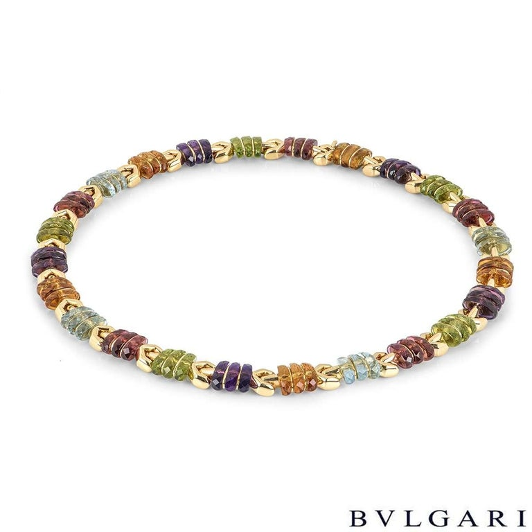 Mixed Cut Bvlgari Yellow Gold Multi Gem Collar Necklace For Sale