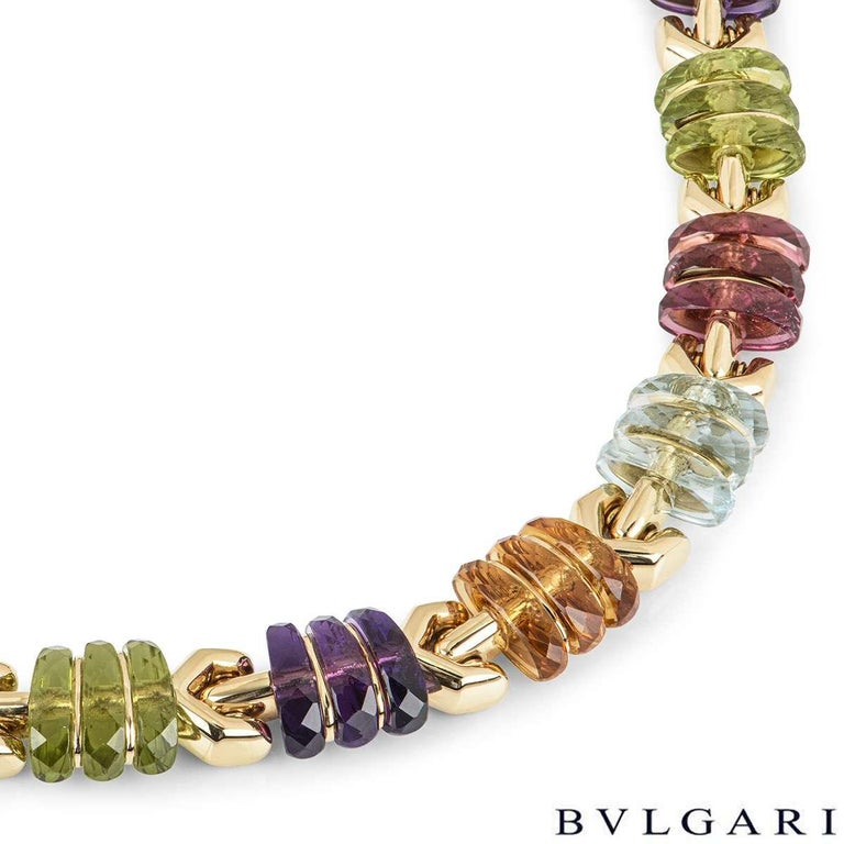 Bvlgari Yellow Gold Multi Gem Collar Necklace In Excellent Condition For Sale In London, GB