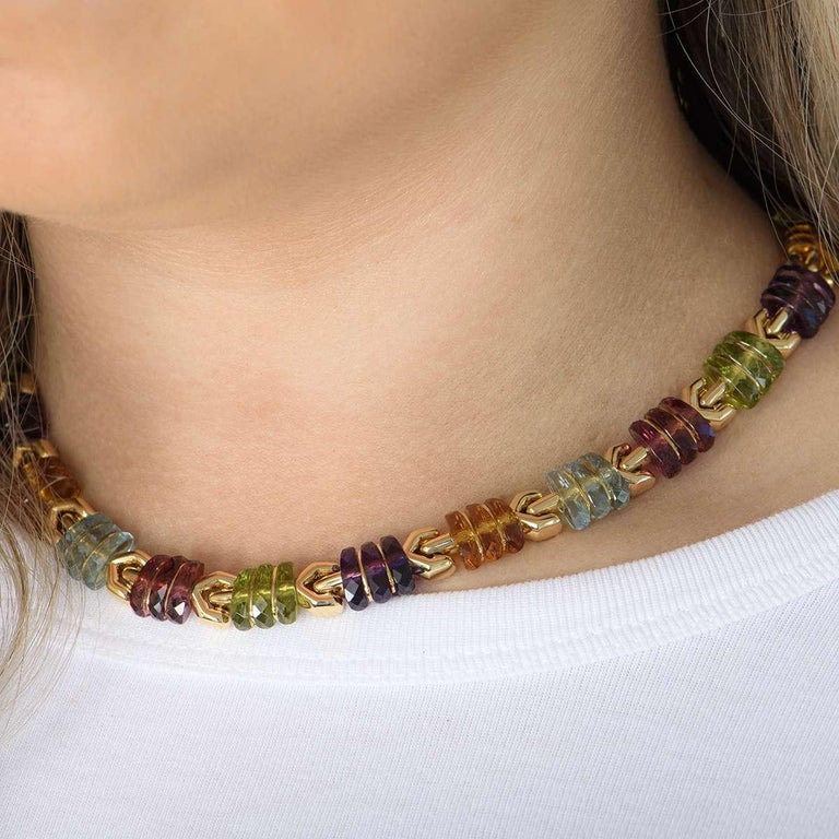 Women's Bvlgari Yellow Gold Multi Gem Collar Necklace For Sale