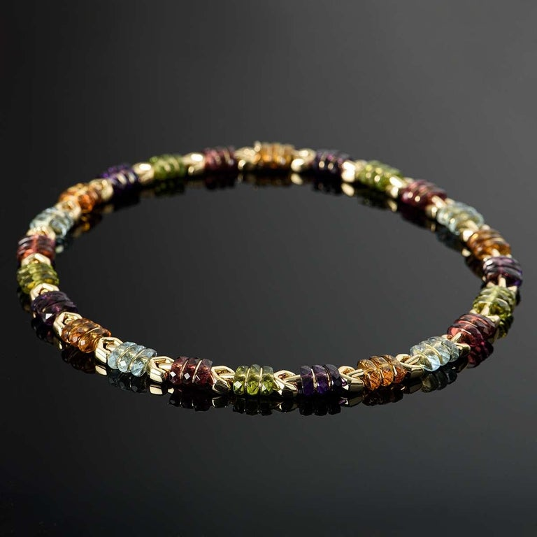 Bvlgari Yellow Gold Multi Gem Collar Necklace For Sale 1