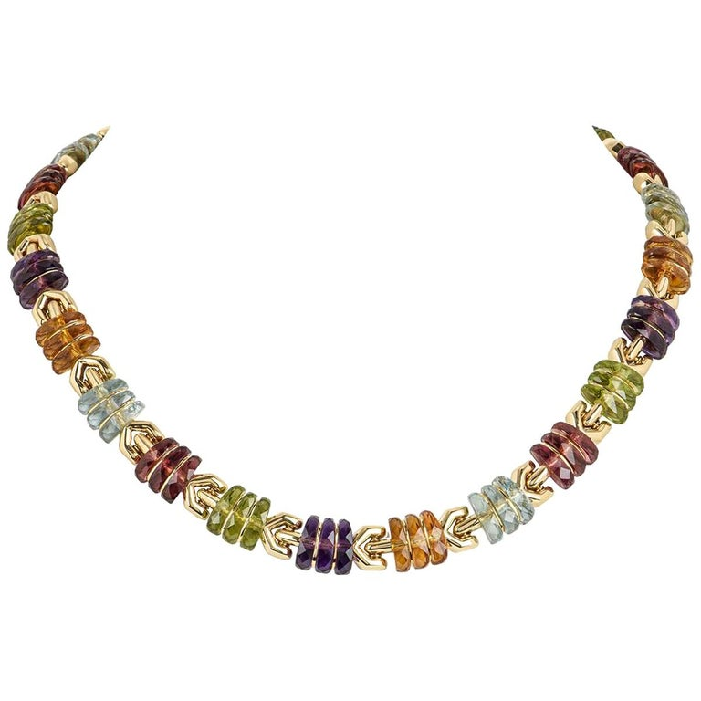 Bvlgari Yellow Gold Multi Gem Collar Necklace For Sale