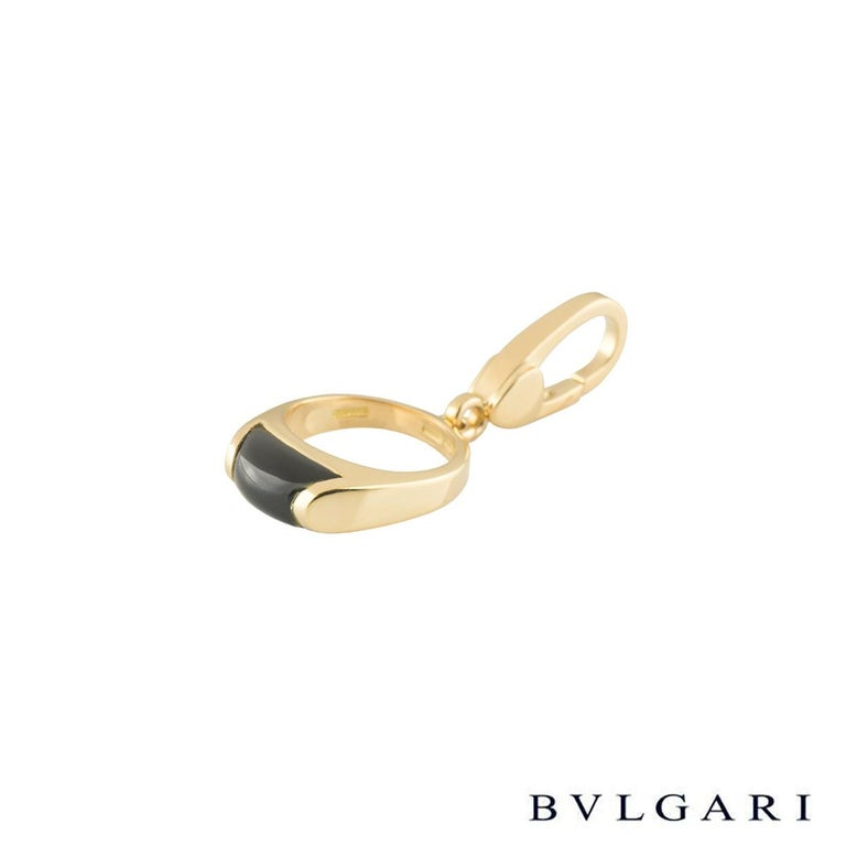 Mixed Cut BvlgariYellow Gold Onyx Charm Pendant For Sale