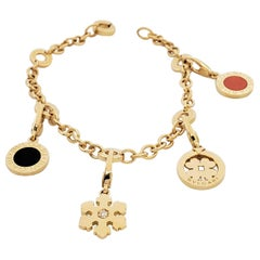 Bvlgari Yellow Gold Onyx Coral and Diamond Charm Bracelet