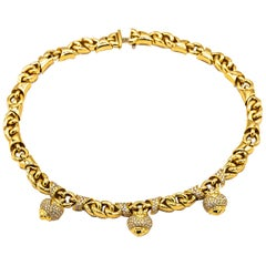 Bvlgari Yellow Gold Pavè Diamond Choker with 3 Dangling Hearts Necklace