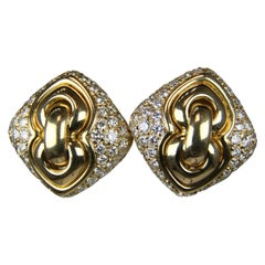 Bulgari Yellow Gold Pave Diamond Square Earrings