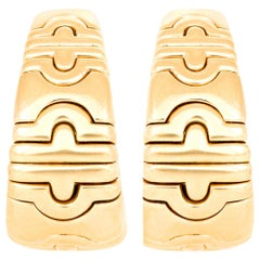 Bvlgari Yellow Gold Spiga Curved Hoop Earrings