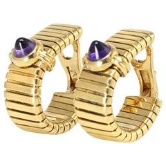 Bvlgari Yellow Gold Tubogas Pyramid Cabochons Amethyst Clip-On Earrings