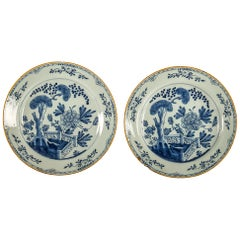 By Ax Porcelain Factory, Mid-18th Century, Pair of Faience Delft Round Dishes