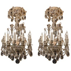 By Baguès Rare Pair of French Silver-Plate & Cut Crystal Chandeliers, circa 1880