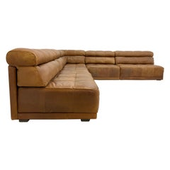 by COR 70s Modular Vintage Patinated Patchwork Leather Lounge Sofa in Trio Style