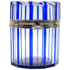 France Cobalt Blue and Cut Crystal Lidded Box by Cristal Benito