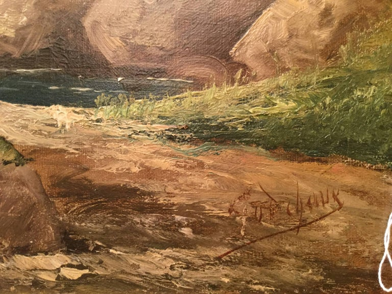By Godchaux Oil on Canvas French Mountain, circa 1900 For Sale 2