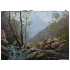 By Godchaux Oil on Canvas French Mountain, circa 1900