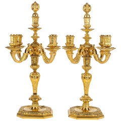 by H Voisenet, Large Pair of Louis XIV Style Ormolu Candelabras, circa 1880-1900