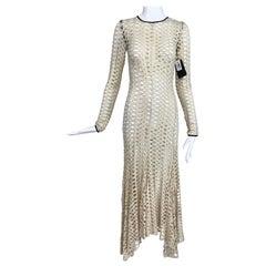 By Malene Birger Cream Pointelle Knit Black Trim Bias Dress