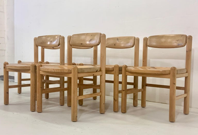 Exclusive Danish Scandinavian vintage high chairs in highest quality with beautiful patinated wood grain from the solid pine wood frame. Design by Rainer Daumiller in the midcentury 1960s produced by Hirtshals Savvaerk in Denmark. Also Hans J.