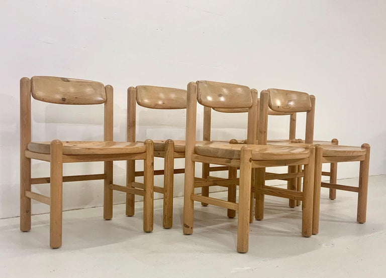 Scandinavian Modern By Rainer Daumiller Danish Modern Solid Pine Wood Dining Chairs, 1960s, Set of 6 For Sale