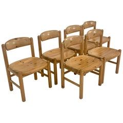 By Rainer Daumiller Danish Modern Solid Pine Wood Dining Chairs, 1960s, Set of 6