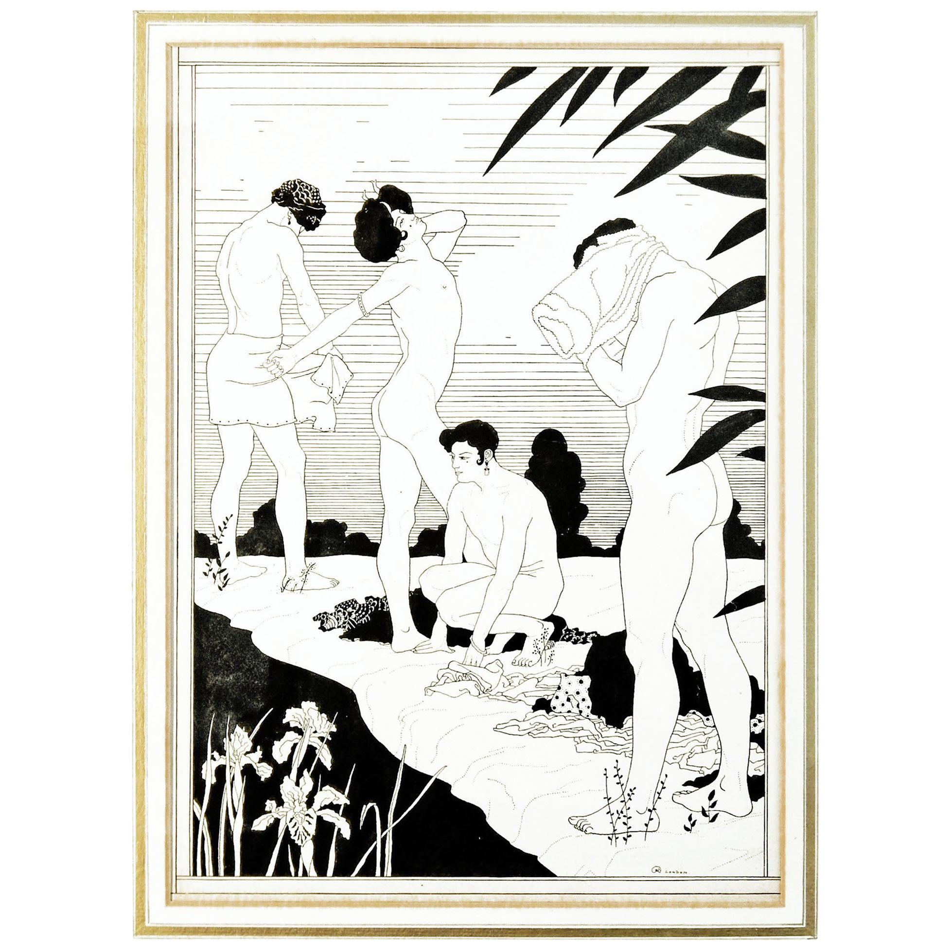"""""""By The River,"""" Original Art Deco Ink Drawing with Nudes by Kettelwell"""