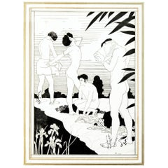 """By The River,"" Original Art Deco Ink Drawing with Nudes by Kettelwell"