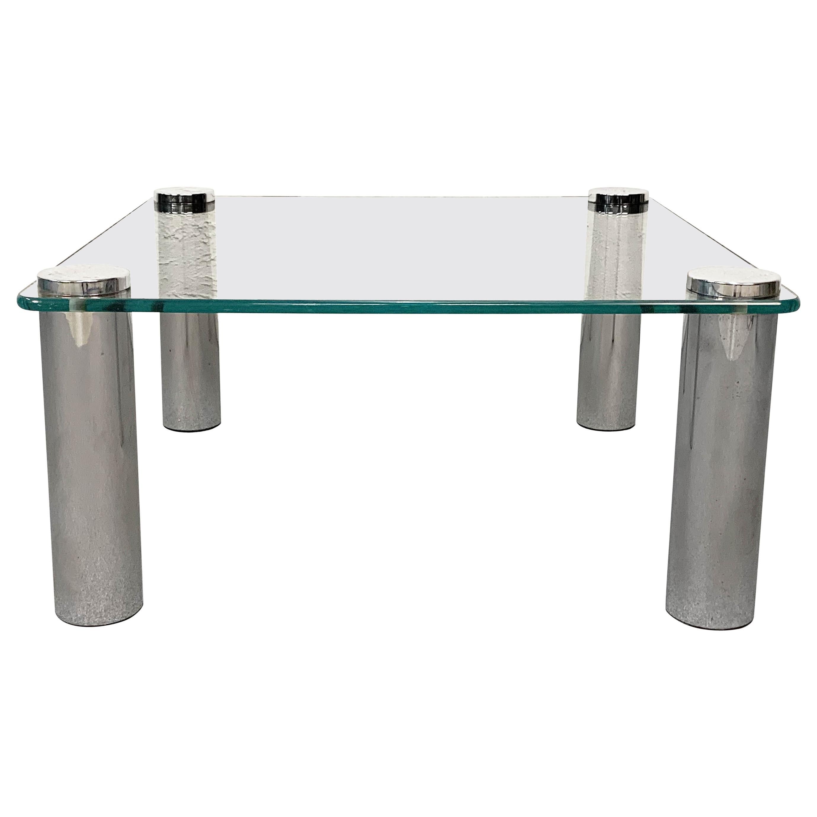 Square Glass and Chrome Coffee Table by Zanuso for Zanotta, Italy, 1960s