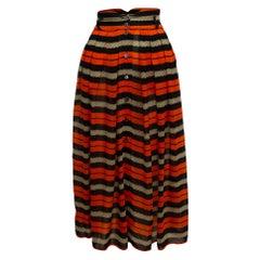 Byblas Orange & Multicolor Striped Skirt