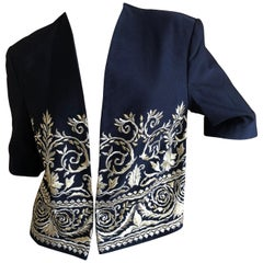 Byblos 1980's Cropped Jacket by Gianni Versace with Metallic Baroque Embroidery