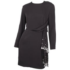 Byblos Black Embellished Asymmetrical Longsleeve Tied Waist Dress