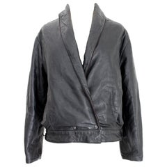 Byblos Black Leather Short Bolero Jacket