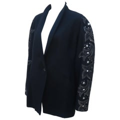 Byblos Black Wool Bejeweled Jacket, 1980's