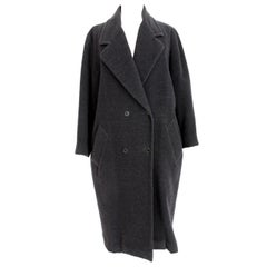 Byblos Blue Cashmere Wool Double Breasted Large Coat
