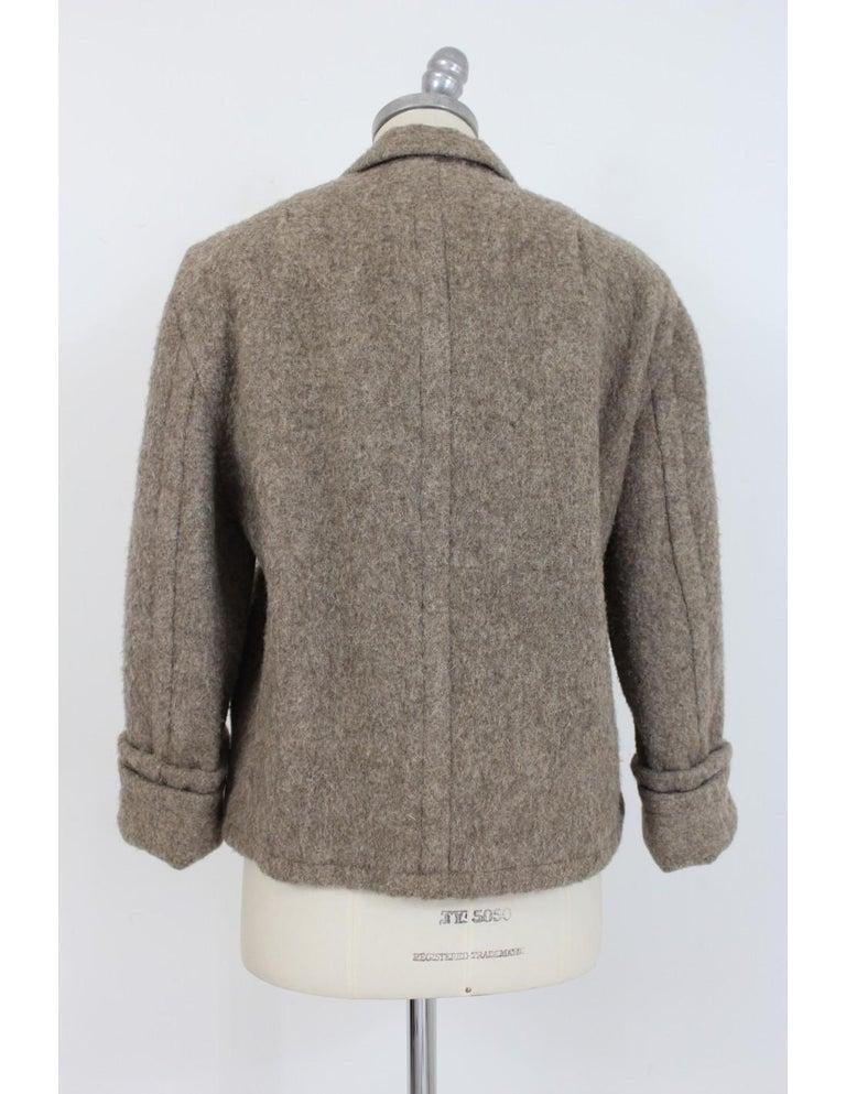 Gray Byblos Brown Beige Wool Short Casual Coat For Sale