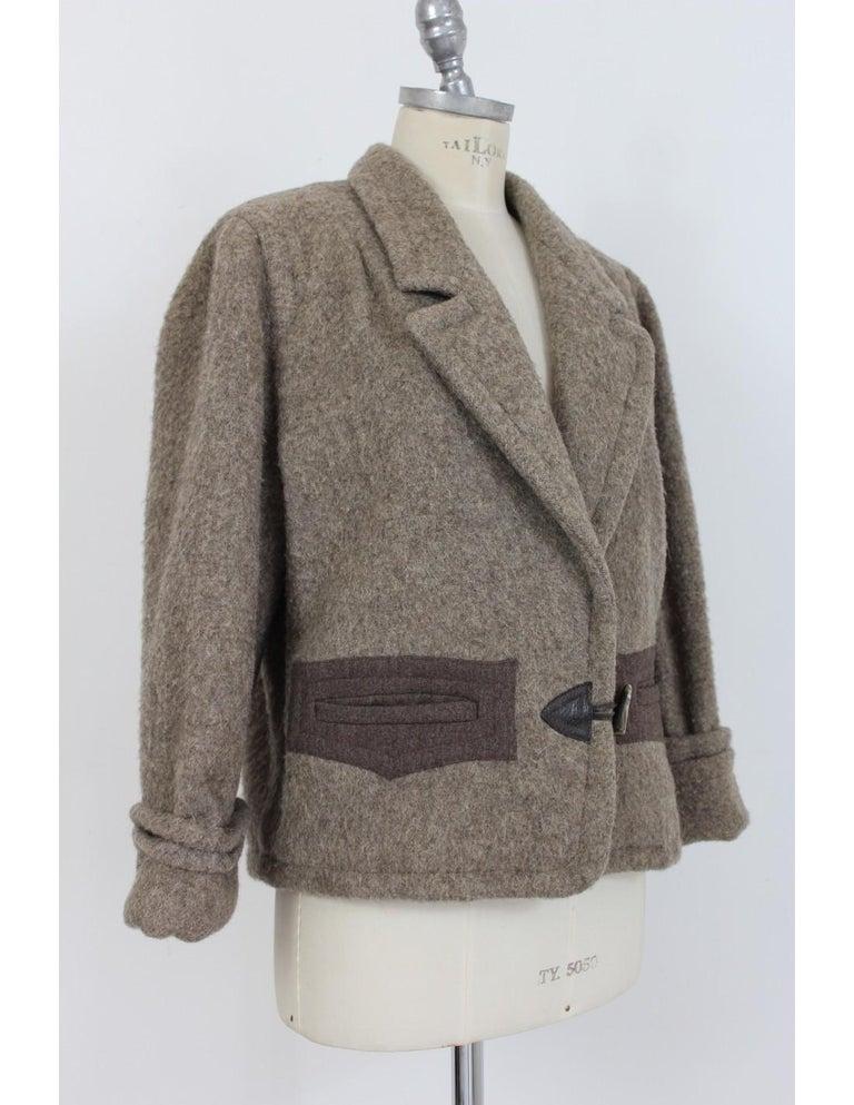 Women's Byblos Brown Beige Wool Short Casual Coat For Sale